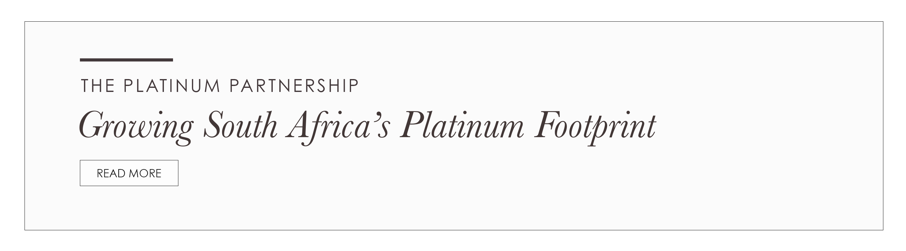 Platinum Partnership Growing South Africa's Platinum Footprint Promotional Banner
